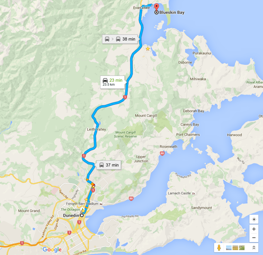 Dunedin to Blueskin Bay